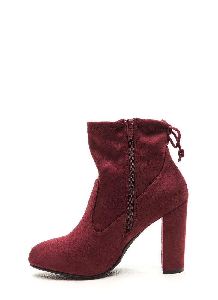 Key To Great Style Chunky Tied Booties BURGUNDY