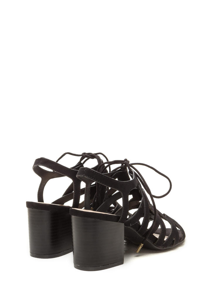 Day Tripping Lace-Up Chunky Block Heels BLACK