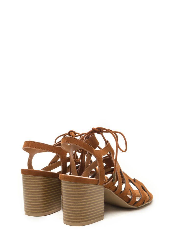 Day Tripping Lace-Up Chunky Block Heels CHESTNUT