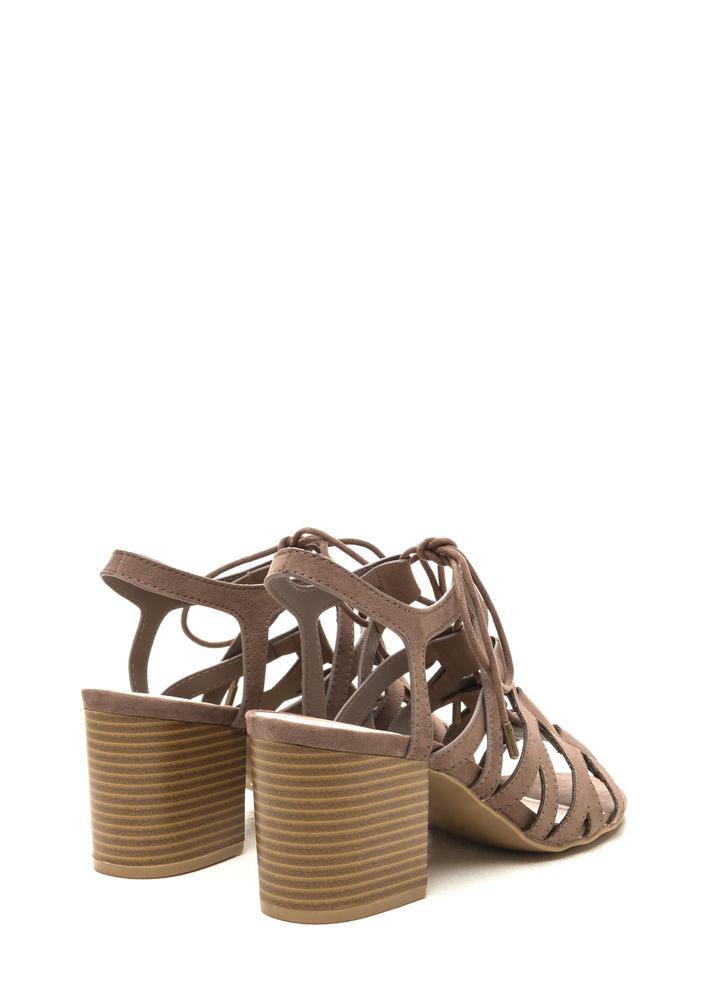 Day Tripping Lace-Up Chunky Block Heels TAUPE