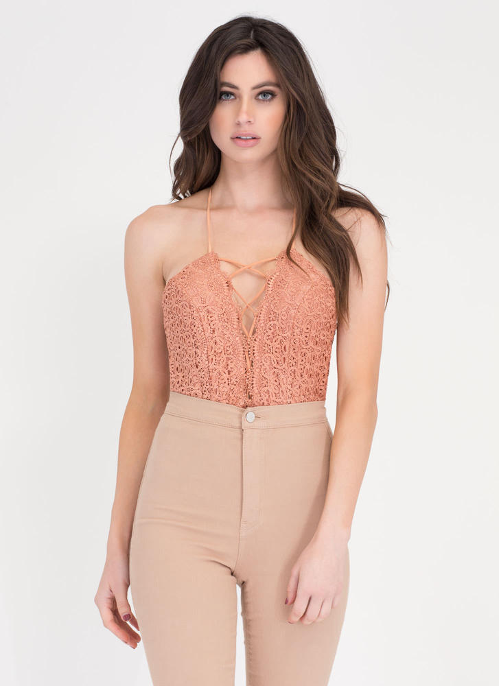 Enter The Boudoir Lace Corset Bodysuit APRICOT