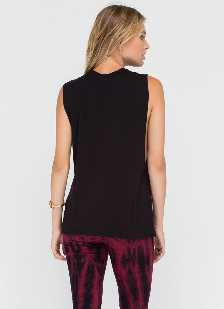 Laid Back Life Deep-Cut Muscle Tank BLACK