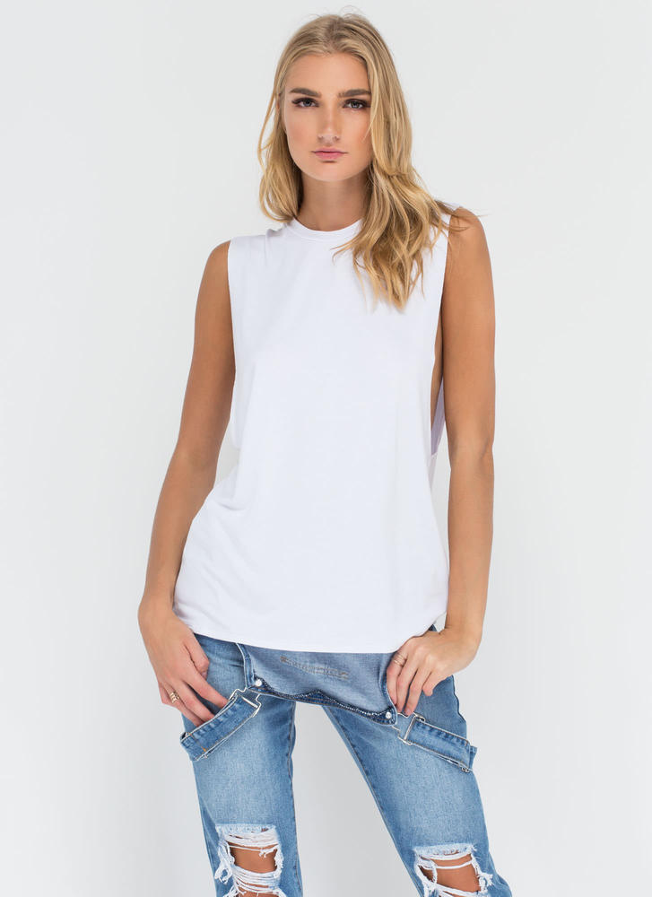 Laid Back Life Deep-Cut Muscle Tank WHITE