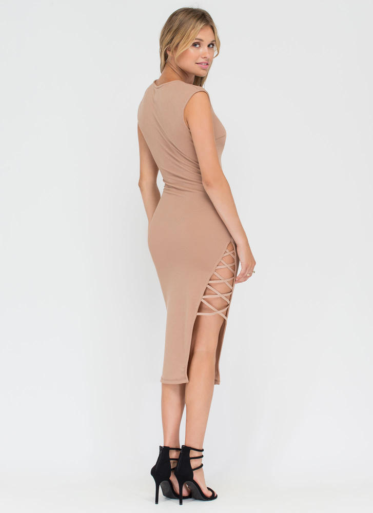 X Games Strappy Slit Midi Dress TAUPE (Final Sale)