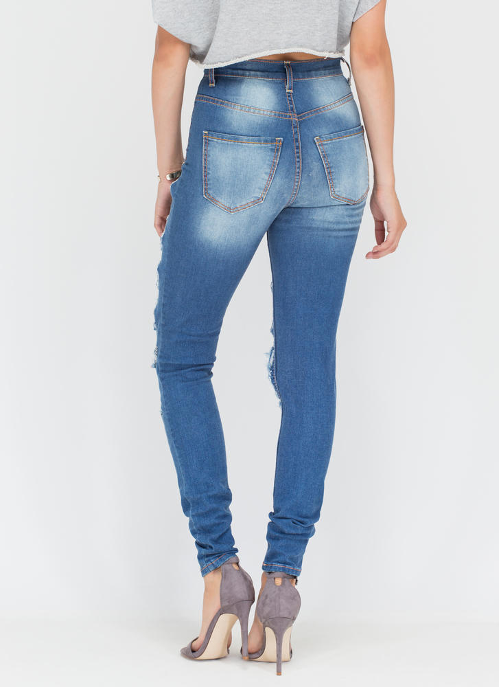 Distress Call High-Waisted Skinny Jeans BLUE