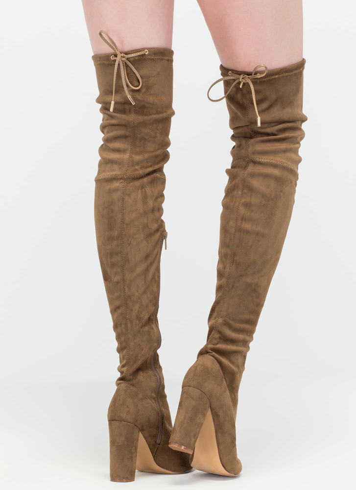 Luck of the Drawstring' Faux Suede Thigh-High Boots - Nude, Grey ...