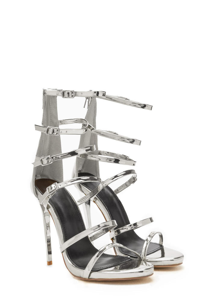 Quick Six Metallic Caged Heels SILVER