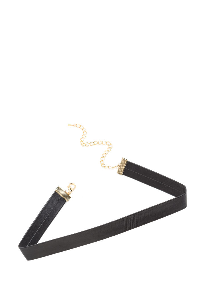 Sleek 90s Faux Leather Choker BLACK