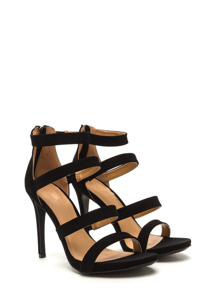 Level Up Faux Nubuck Strappy Heels BLACK