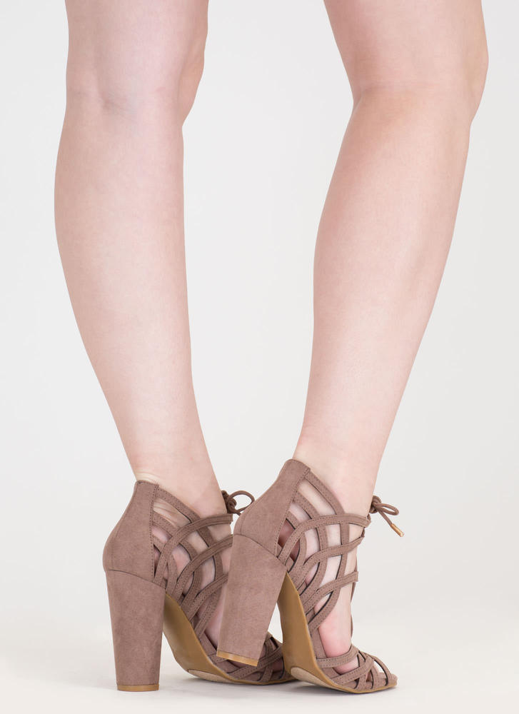 Web Design Chunky Lace-Up Heels LTTAUPE