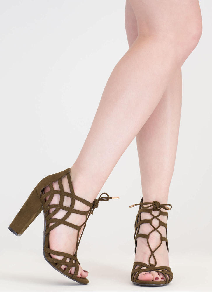 Web Design Chunky Lace-Up Heels OLIVE