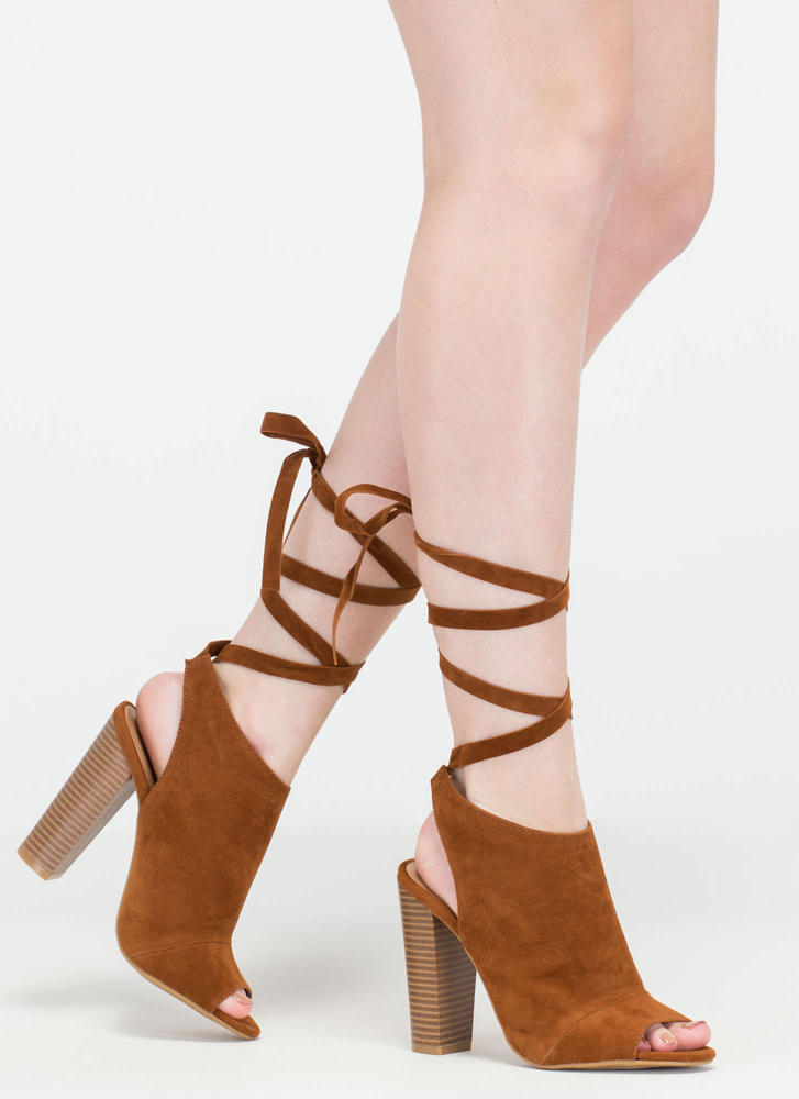 To Tie For Chunky Faux Suede Heels CHESTNUT