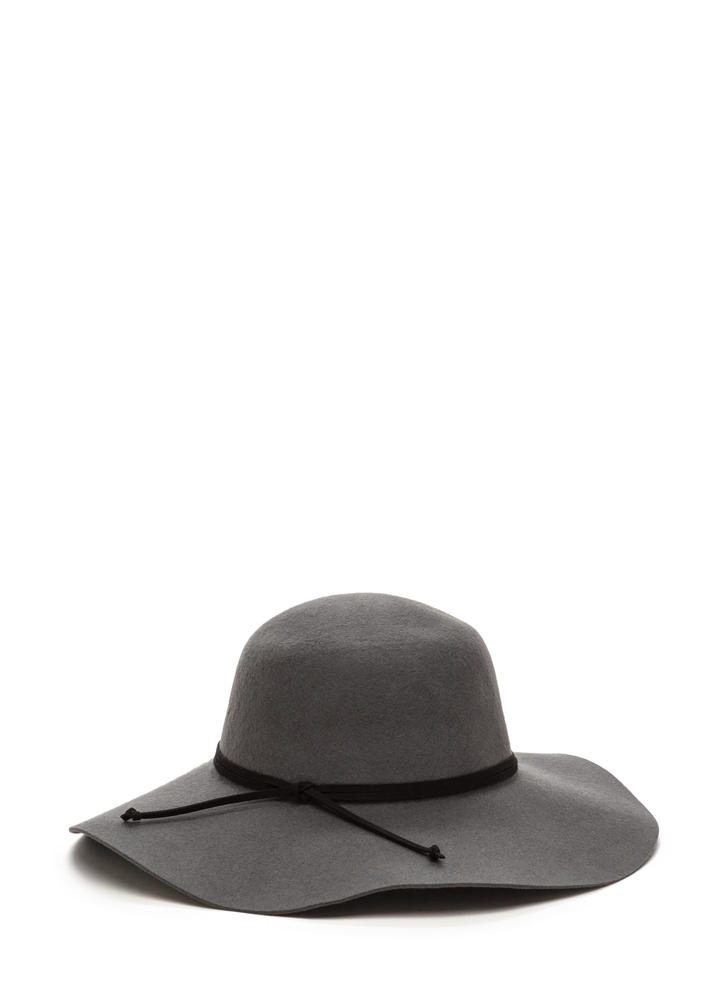 Strike A Pose Wide Brim Wool Hat GREY (Final Sale)