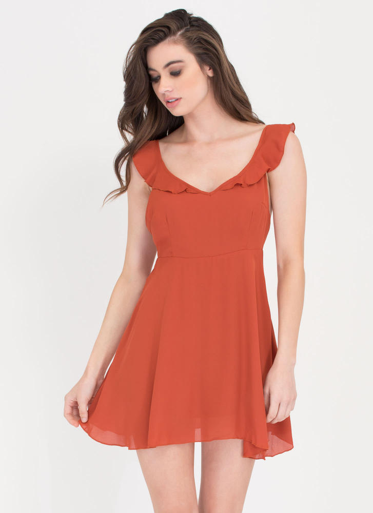 Sheer 'N Tell Ruffled Tied Dress