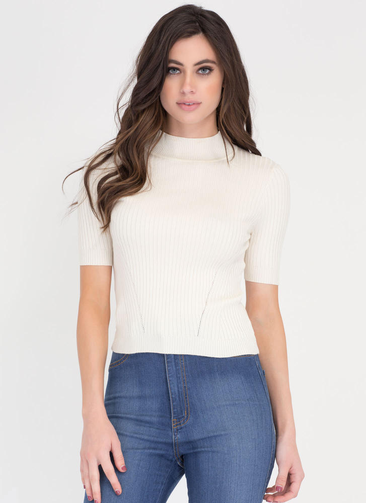 Warm Front Ribbed Mockneck Top WHITE