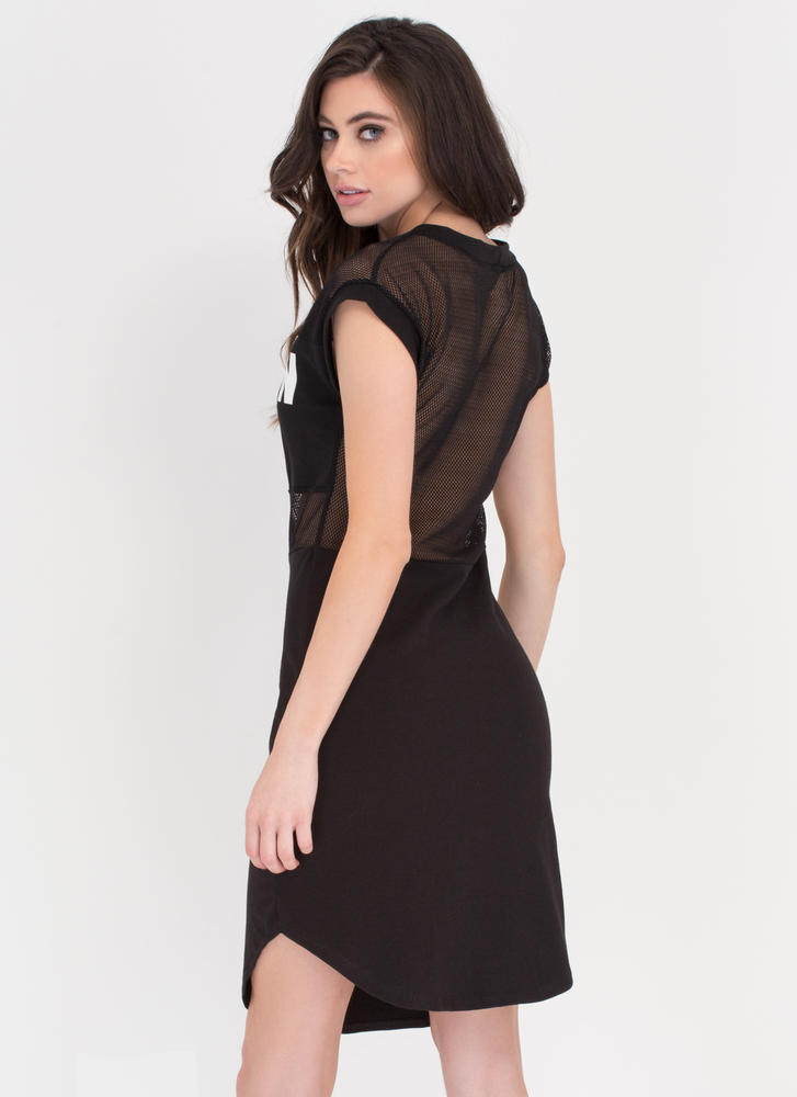You Lit Up My Life Netted T-Shirt Dress BLACK (Final Sale)