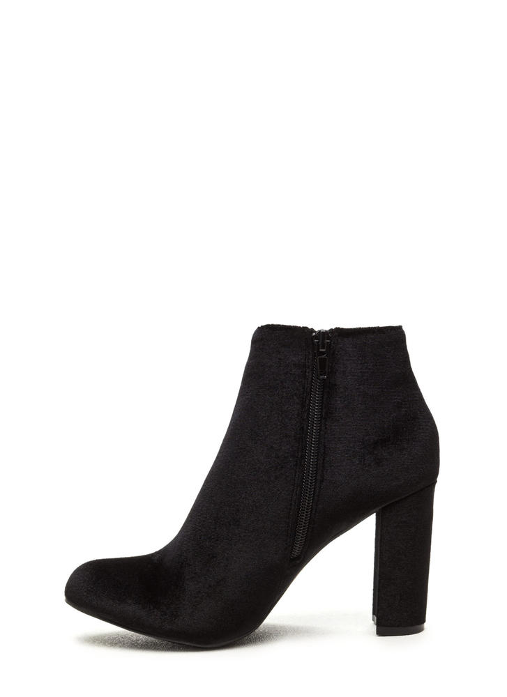 Set The Stage Chunky Velvet Booties BLACK