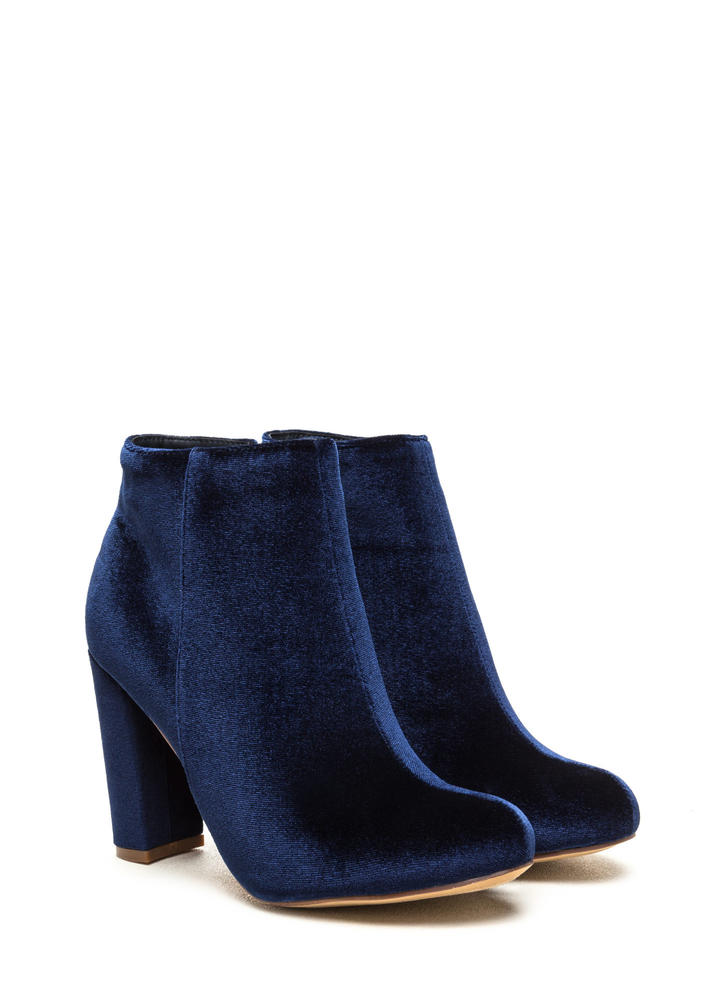Set The Stage Chunky Velvet Booties BLUE