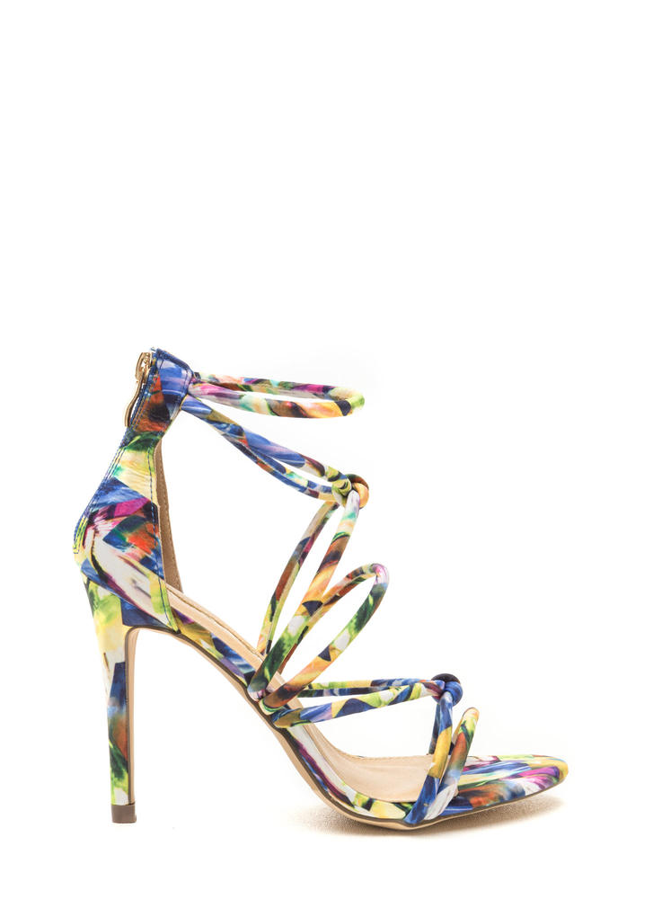 Runway Waltz Strappy Abstract Heels MULTI