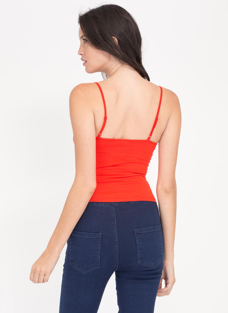 Sweet Breeze Strappy Cropped Tank RED