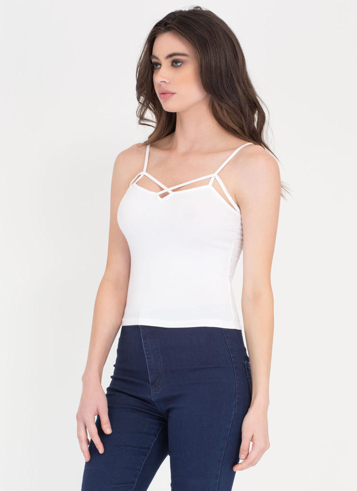 Sweet Breeze Strappy Cropped Tank WHITE