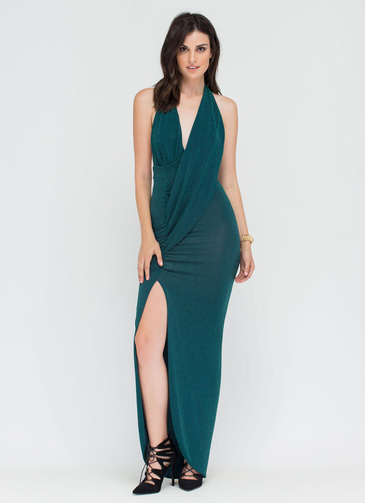 In The Limelight Draped Halter Maxi