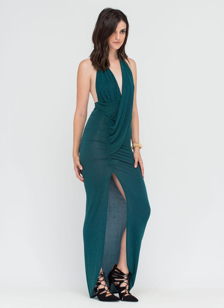 In The Limelight Draped Halter Maxi JADE (Final Sale)