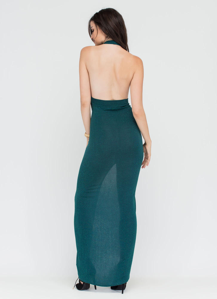 In The Limelight Draped Halter Maxi JADE