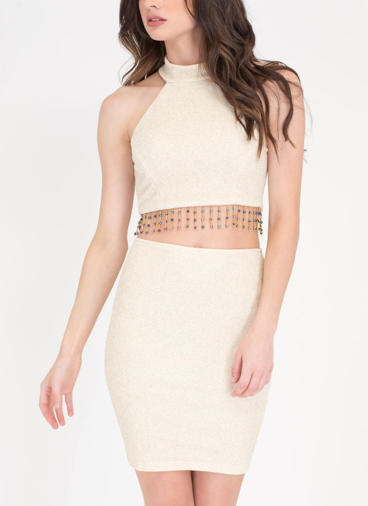 Bead Of My Heart Shiny Top 'N Skirt Set IVORY
