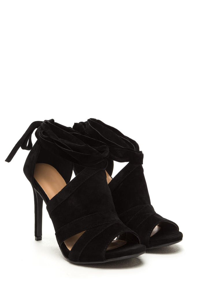 Wrap Game Faux Suede Cut-Out Heels BLACK
