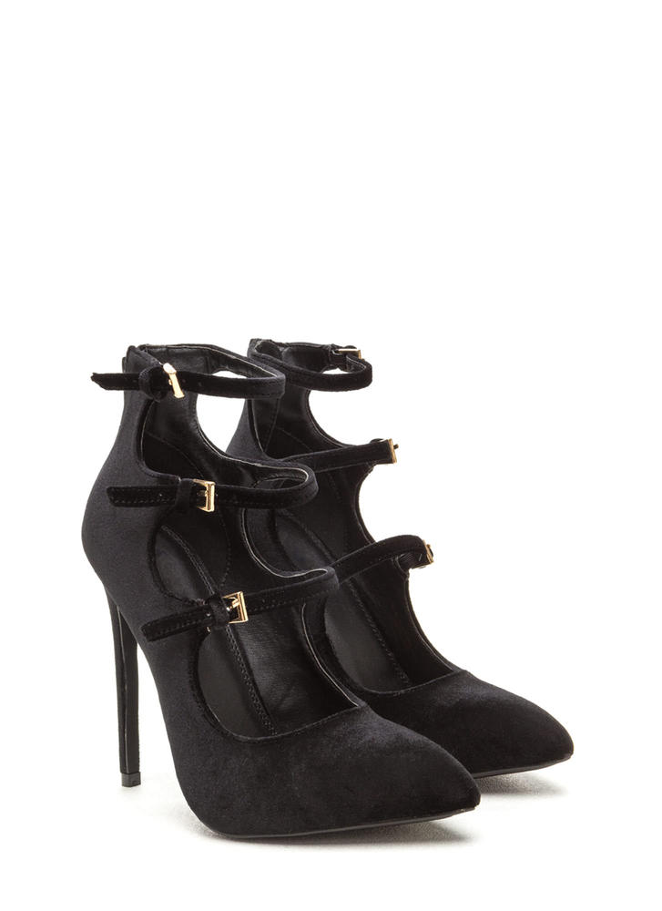 Three Thinker Strappy Pointed Heels BLACK