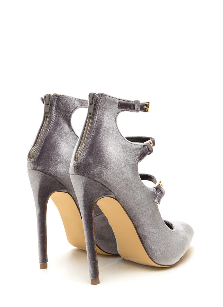 Three Thinker Strappy Pointed Heels GREY