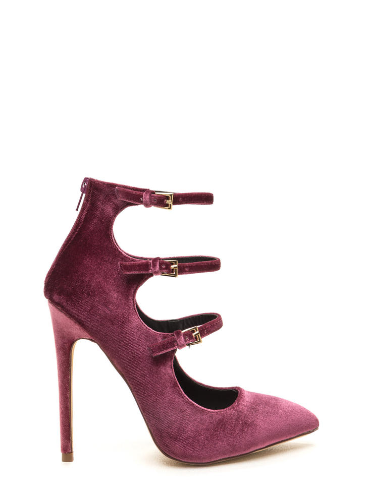 Three Thinker Strappy Pointed Heels MAUVE