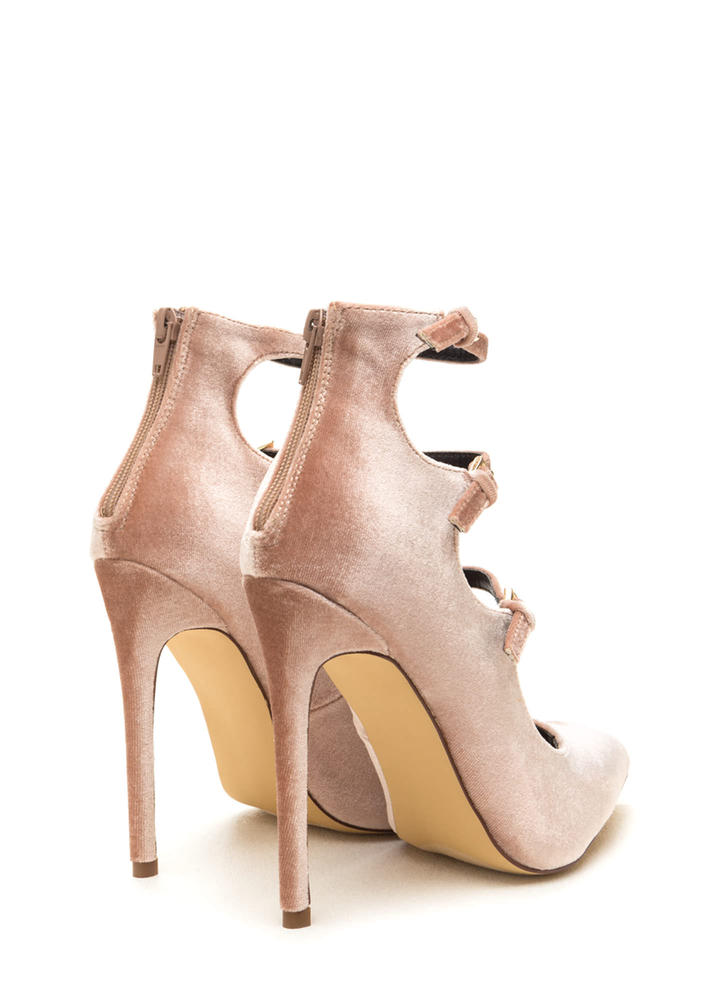 Three Thinker Strappy Pointed Heels NUDE