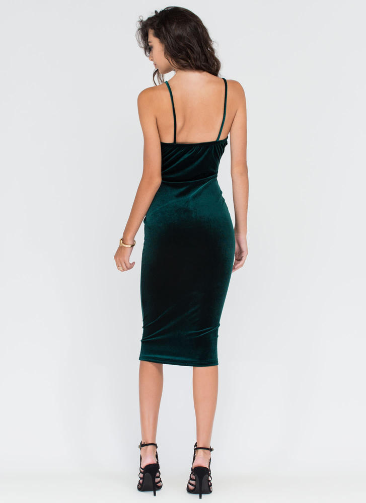 Blow Me Away Velvet Bustier Midi Dress HUNTERGREEN