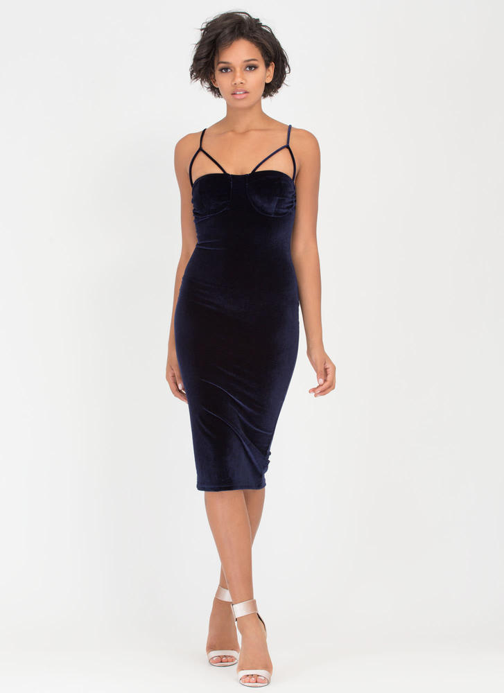 Blow Me Away Velvet Bustier Midi Dress