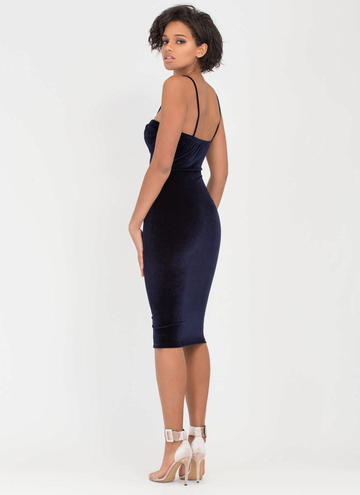 Blow Me Away Velvet Bustier Midi Dress NAVY