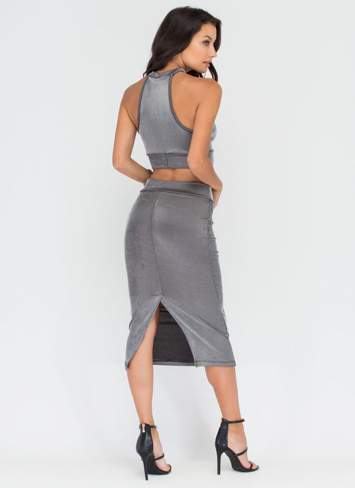 Two Cool Ribbed Crop Top 'N Skirt Set GREY (Final Sale)