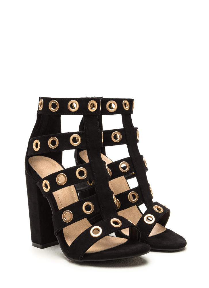 Hole-d It Together Chunky Caged Heels BLACK