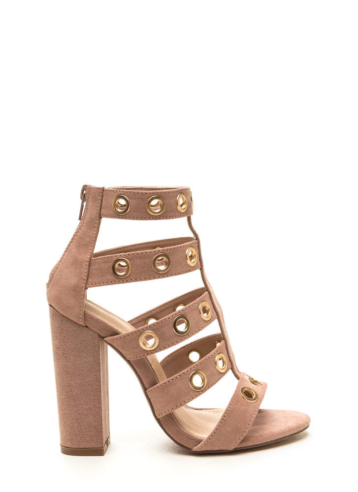 Hole-d It Together Chunky Caged Heels MAUVE