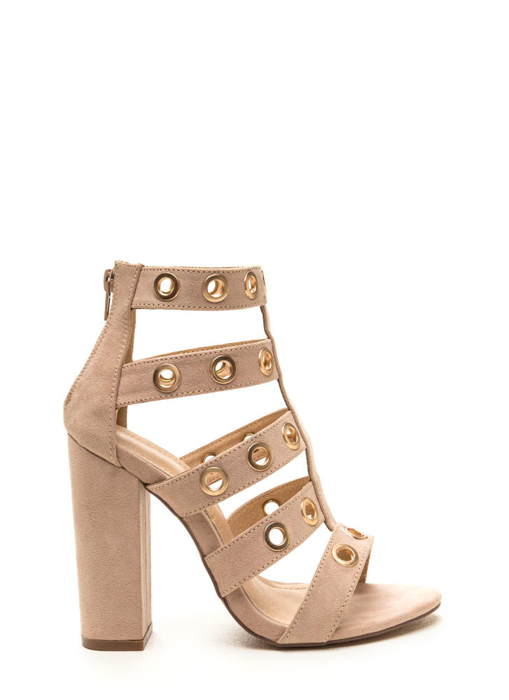 Hole-d It Together Chunky Caged Heels NUDE