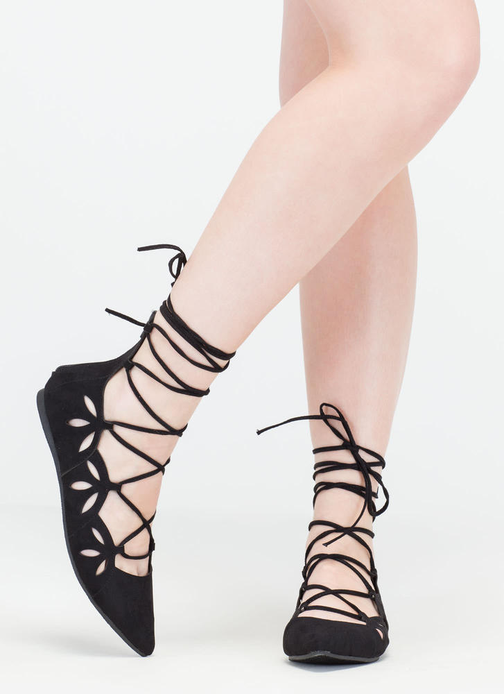 Share The Love Lace-Up Cut-Out Flats BLACK