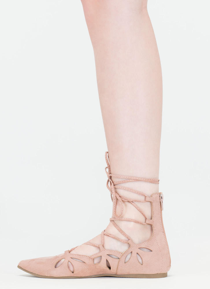 Share The Love Lace-Up Cut-Out Flats MAUVE