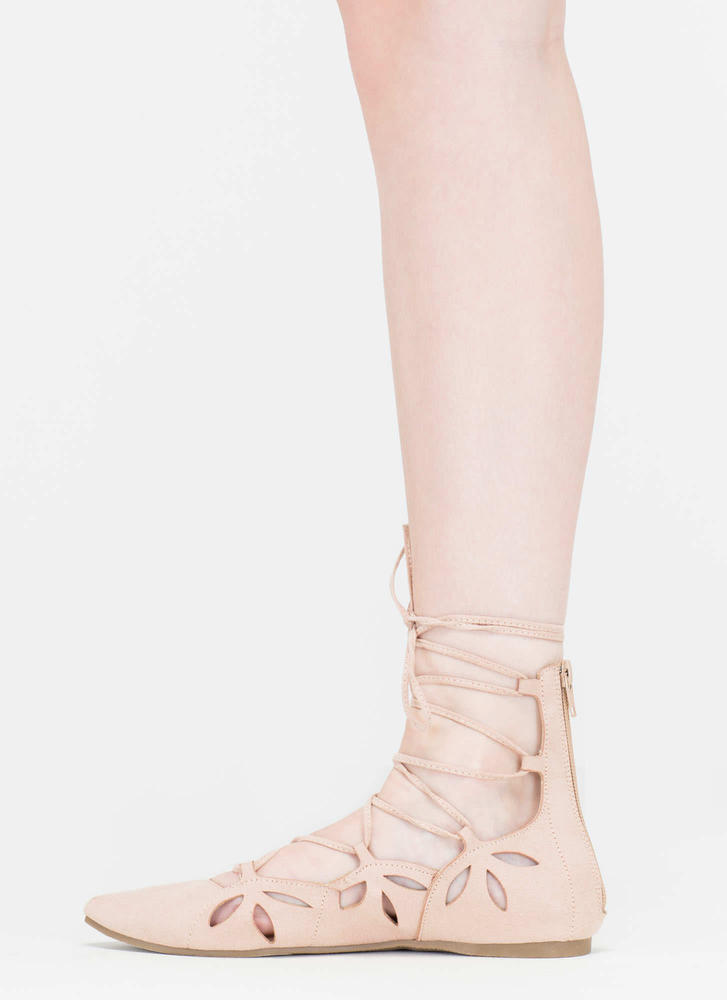 Share The Love Lace-Up Cut-Out Flats NUDE (Final Sale)