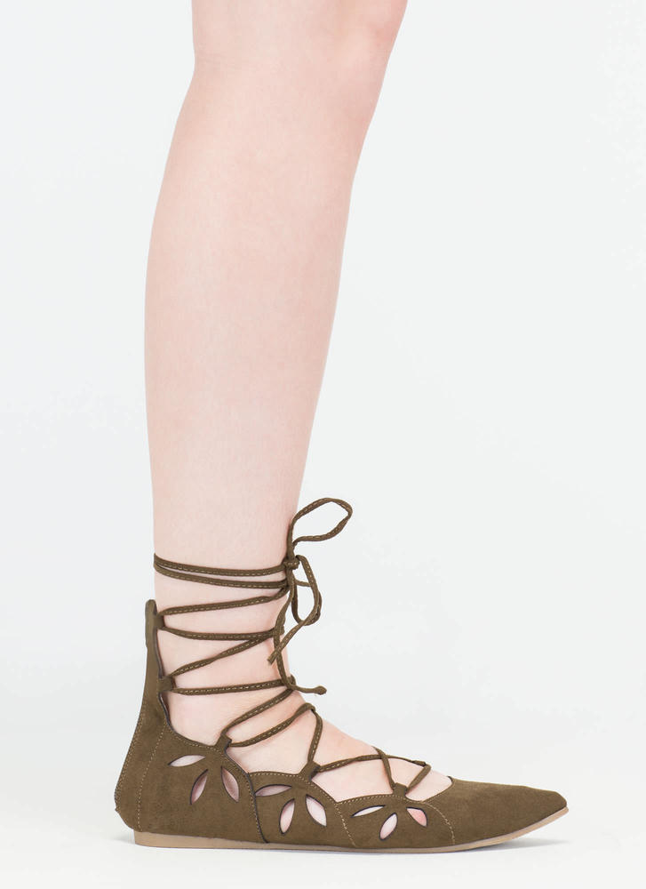 Share The Love Lace-Up Cut-Out Flats OLIVE