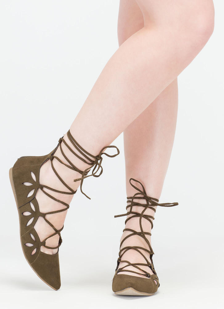 Share The Love Lace-Up Cut-Out Flats OLIVE (Final Sale)