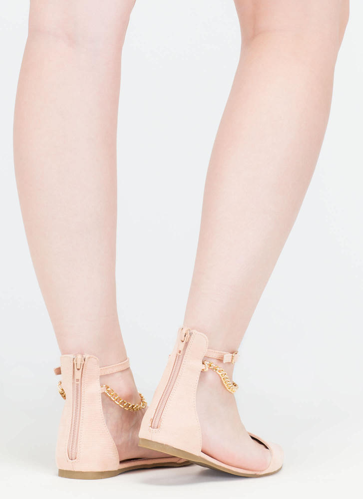 Understated Texture D'Orsay Chain Flats NUDE