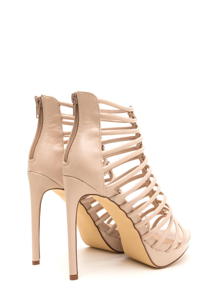 Irresistible Caged Faux Leather Heels NUDE