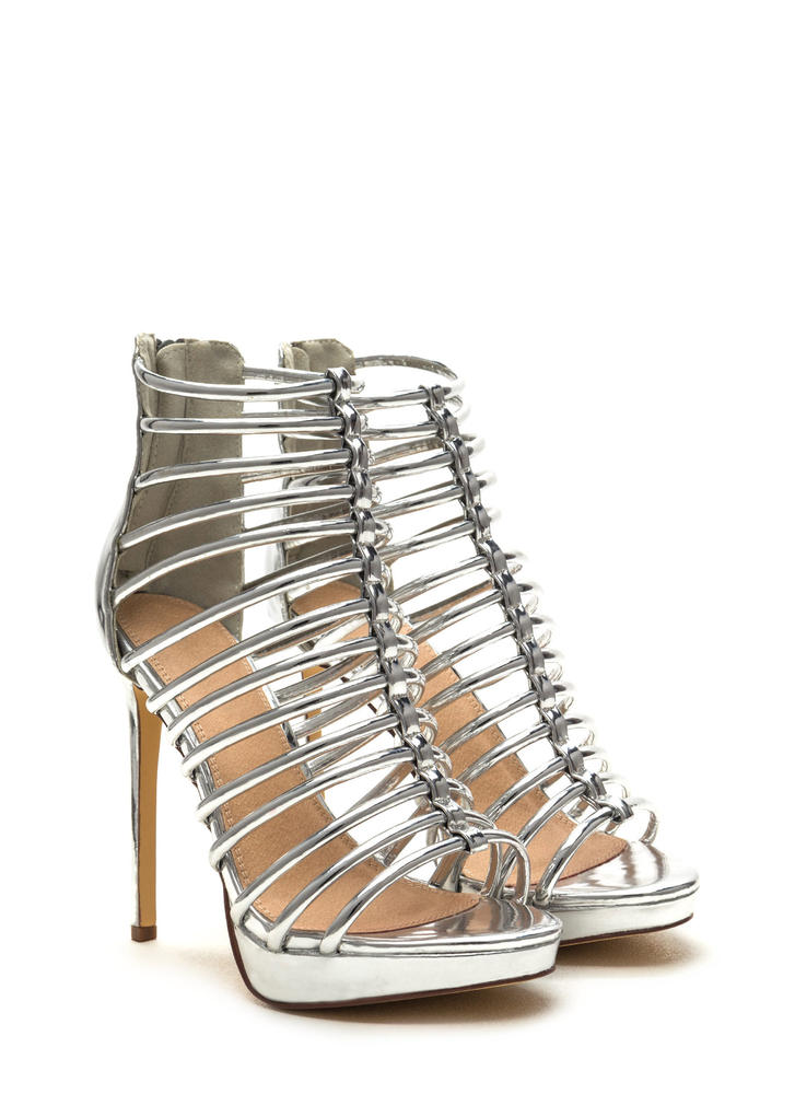 Irresistible Caged Metallic Heels SILVER