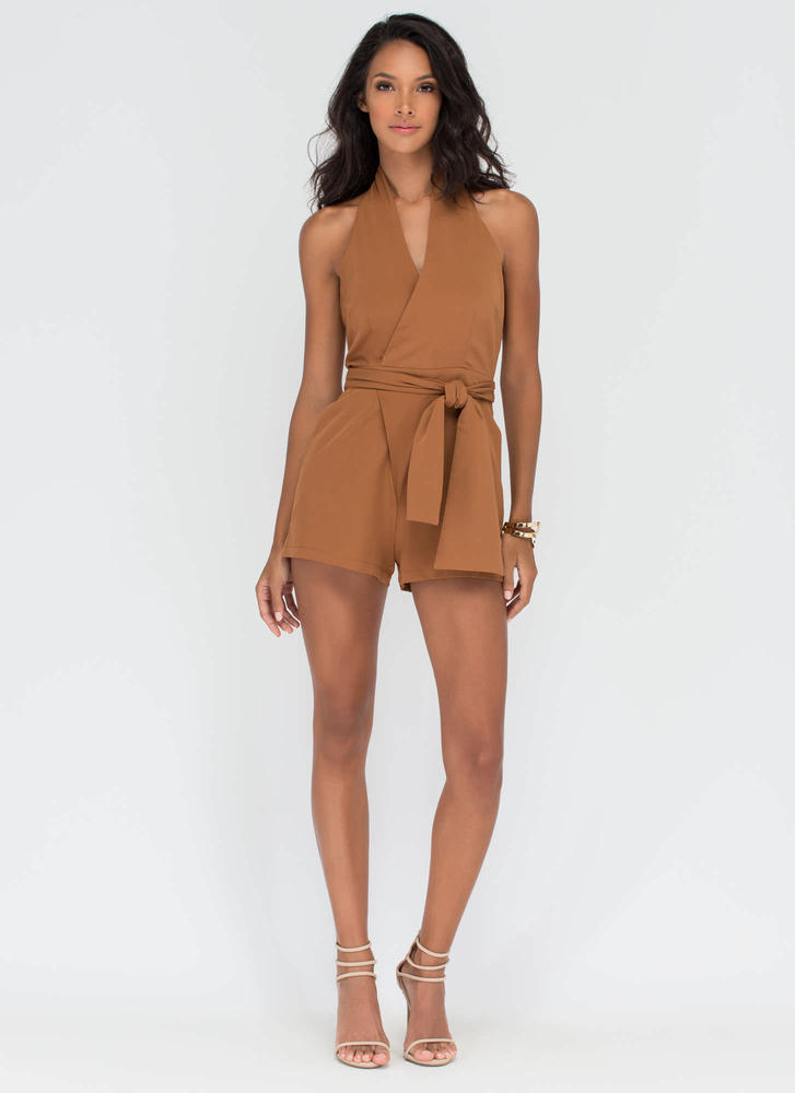 Wrap Things Up Plunging Halter Romper CAMEL (Final Sale)